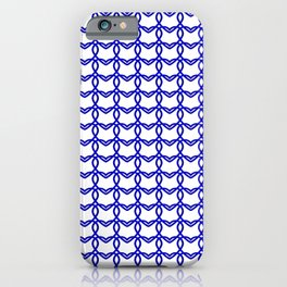 Cross sparkling pattern of blue hearts on a light background. iPhone Case