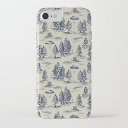 Alien Abduction Toile De Jouy Pattern in Blue iPhone Case