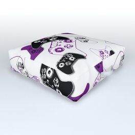 Video Game White & Purple Outdoor Floor Cushion