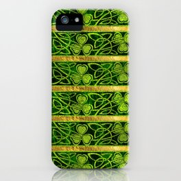 Irish Shamrock -Clover Gold and Green pattern iPhone Case