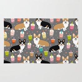 Corgi boba tea bubble tea kawaii food welsh corgis dog breed gifts Rug