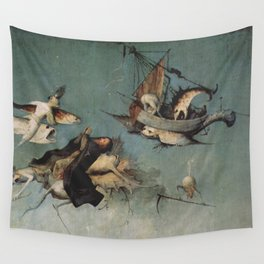 Hieronymus Bosch flying ships and creatures Wall Tapestry
