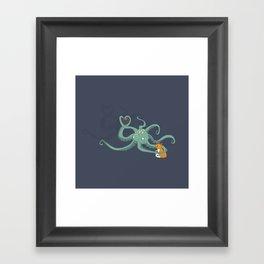 Octopus Loves Kitty Framed Art Print