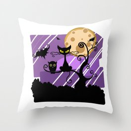 Scary Witch Cat Throw Pillow