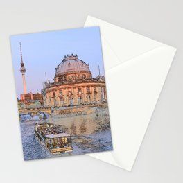 Berlin Spree Bode Museum and Alexander tower Stationery Cards