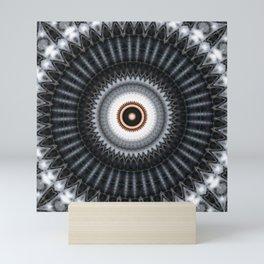 Mandala black sun Mini Art Print