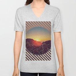 Peel Sunset -  brown graphic Unisex V-Neck