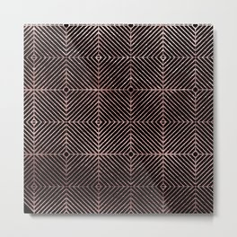 Abstract black rose pink geometrical diamond pattern Metal Print