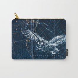 Owl at night, Blue Carry-All Pouch