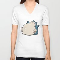 snorlax V-neck T-shirts featuring Pokémon - Number 143 by Aniforce