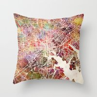 baltimore Throw Pillows featuring Baltimore map by MapMapMaps.Watercolors