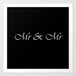 Mr & Mr Monogram Cursive Art Print
