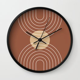 Mid Century Modern Geometric 6 (Terrocatta and beige) Wall Clock