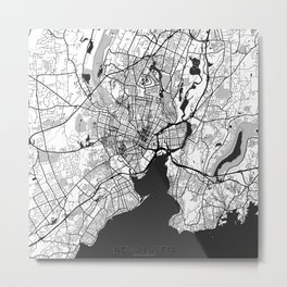 New Haven Map Gray Metal Print