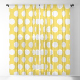 Yellow and White Polka Dots 772 Sheer Curtain