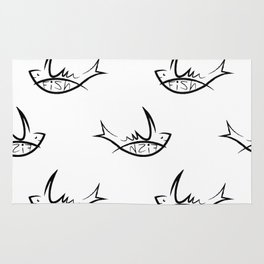 white seamless pattern with black fish sign Rug