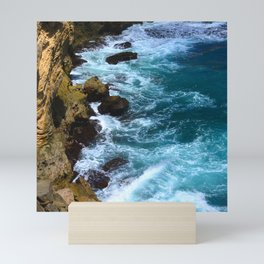 Pounding Ocean Surf on Jagged, Rocky Coastline Mini Art Print