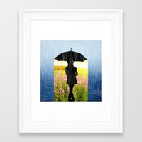 umbrella Framed Art Prints featuring Umbrella by Cs025