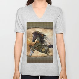 Steampunk, awesome steampunk horse Unisex V-Neck