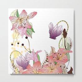 Boho Lillies and Sweet Peas Metal Print