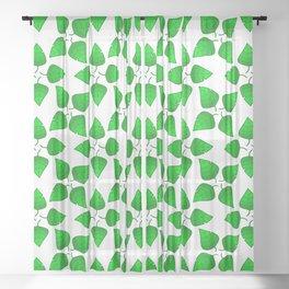 Chipped Leaf Simple Green Leaf Vegetation Pattern Sheer Curtain
