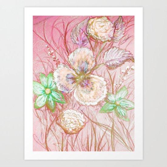 Crayon Love: Ermahgerd! PRETTY IN PINK Pansy Crayon Art??!! Art Print