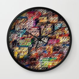 City Landscape of the Colored Himalayan Houses of Shimla, India by Jeanpaul Ferro Wall Clock