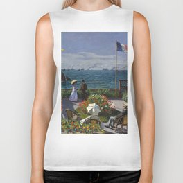 Garden at Sainte-Adresse by Claude Monet Biker Tank