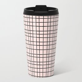 Back to School- Simple Grid Pattern- Black & Pink - Mix & Match with Simplicity of Life Travel Mug