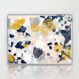 Esther - abstract minimal gold navy painting home decor minimalist hipster art Laptop & iPad Skin