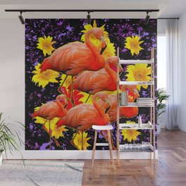 MODERN BLACK-YELLOW ART FLAMINGO  FLORAL ABSTRACT Wall Mural