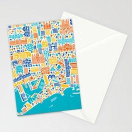 Vianina Barcelona City Map Poster Stationery Cards