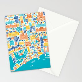 Vianina Barcelona City Map Poster Stationery Cards