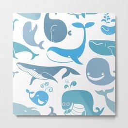 Whales Pattern Metal Print