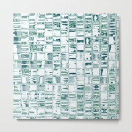 Green glassy look tiles or marble look abstract background design Metal Print