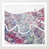 new orleans Art Prints featuring New Orleans  by MapMapMaps.Watercolors