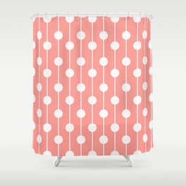 Pink Lined Polka Dot Shower Curtain