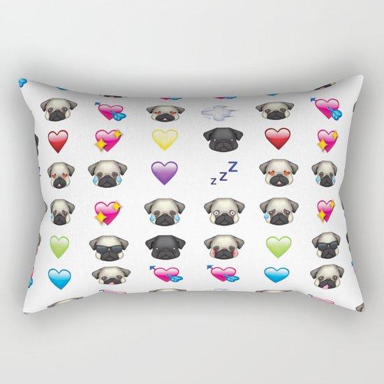 Emoji Pug Rectangular Pillow