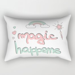 cute hand drawn lettering magic happens with magic wand, rainbow and hearts Rectangular Pillow