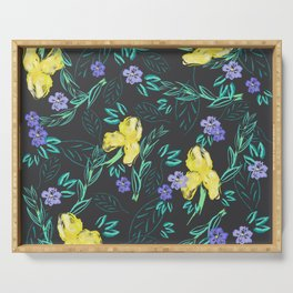 Yellow iris and periwinkle watercolour & ink pattern in black Serving Tray