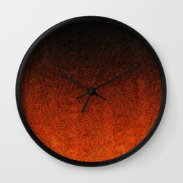 Orange & Black Glitter Gradient Wall Clock