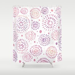 Abstract watercolor sparkles – pastel pink and ultra violet Shower Curtain