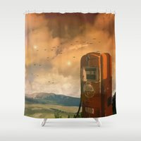 pocket fuel Shower Curtains featuring old fuel pump by Cenk Cansever