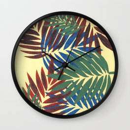 Palm Leaves in Red, Blue and Green Wall Clock