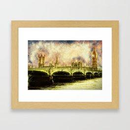 Abstract Golden Westminster Bridge in London Framed Art Print