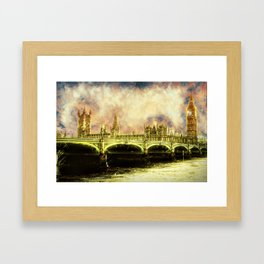 Abstract Golden Westminster Bridge in London Framed Art Print