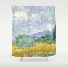 Vincent van Gogh - Wheat Field With Cypresses Shower Curtain