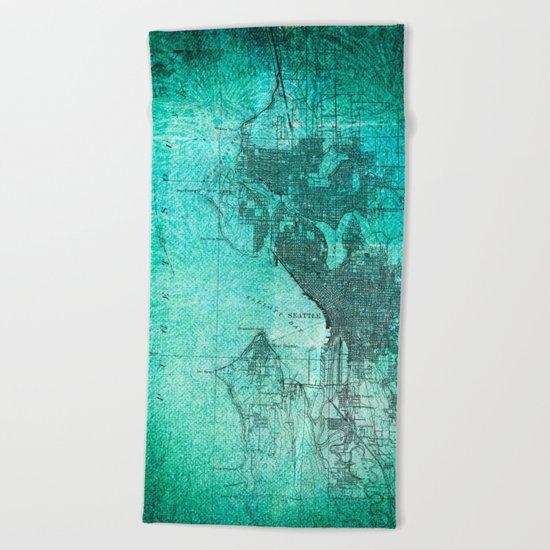 Turquoise Seattle Map Design Beach Towel