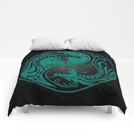 Teal Blue and Black Yin Yang Dragons Comforters