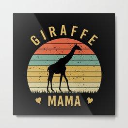 Cute Giraffe Mama for Mothers Gift Idea Metal Print